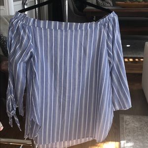 Tops - ❤️ Blue and White Striped Off The Shoulder Blouse